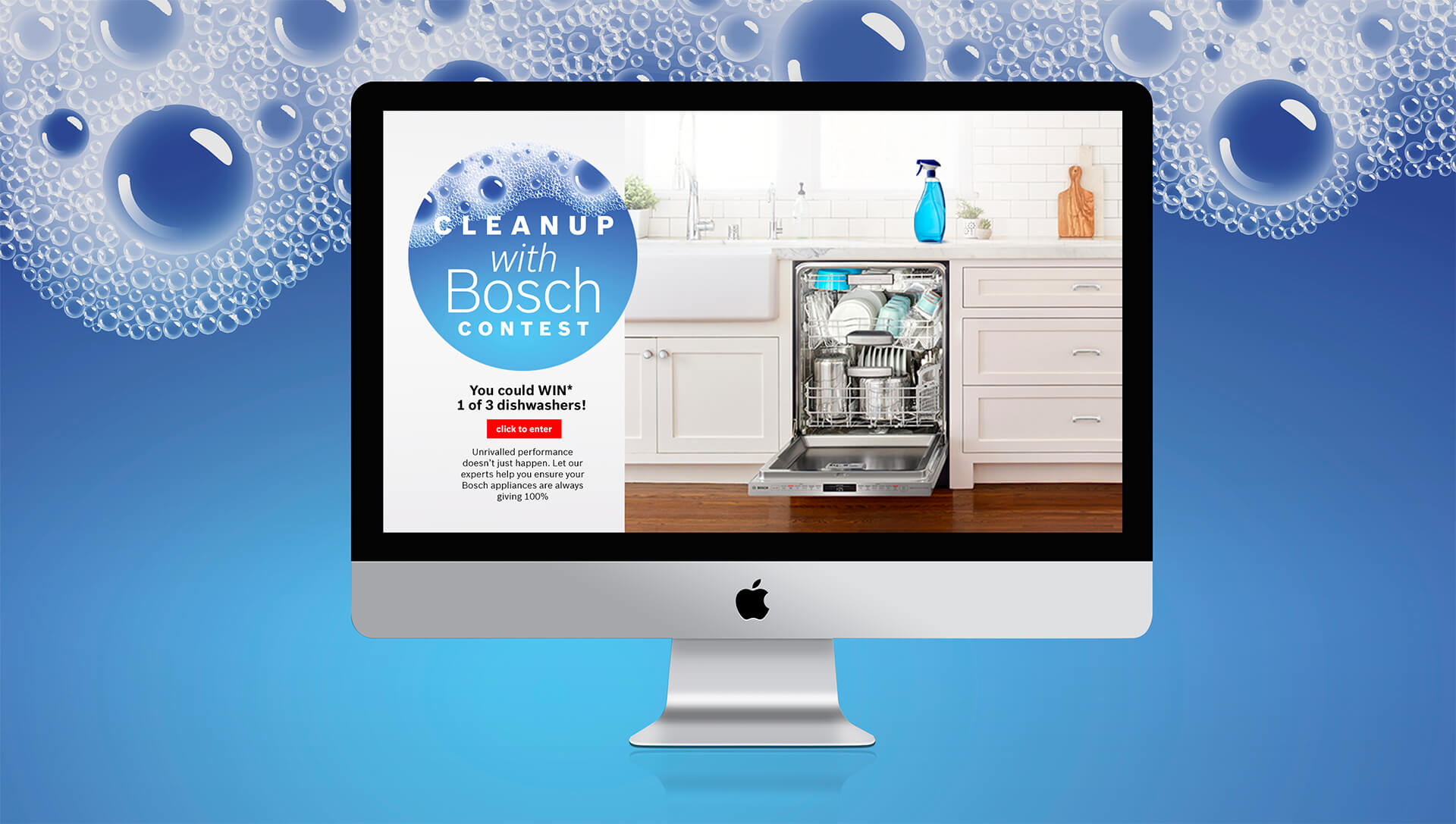 "Screenshot Bosch's ""Cleanup wish Bosch"" contest, where users won dishwashers."