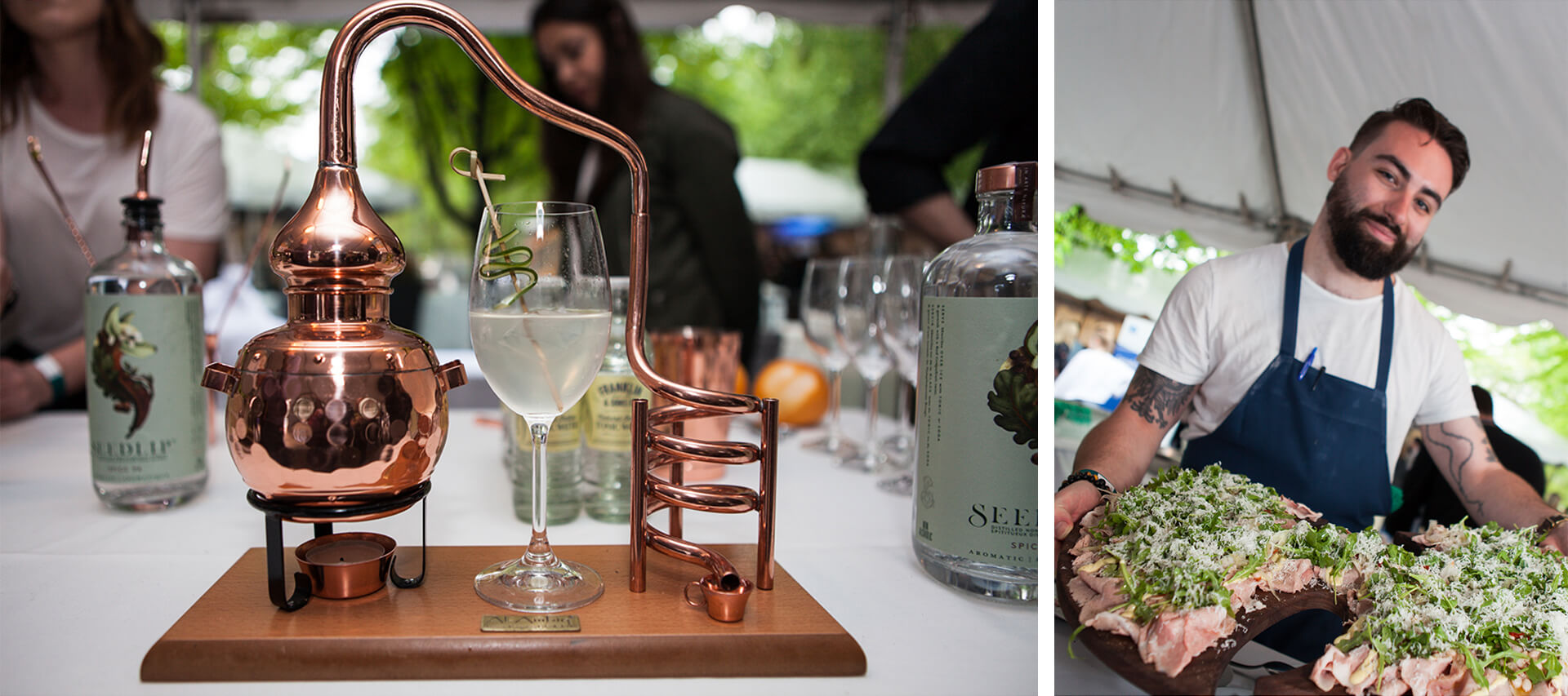 Left: A glass of cocktail on a copper brewing machine, with three people standing surround the table in the background.  Right: A chef serving two board of hams topped with salad and cheese.