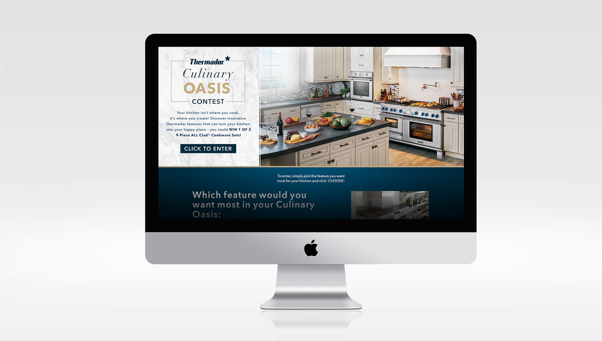 "Screenshot Thermador's ""Culinary Oasis"" contest, where users won 9-piece ALL Clad Cookware Sets."