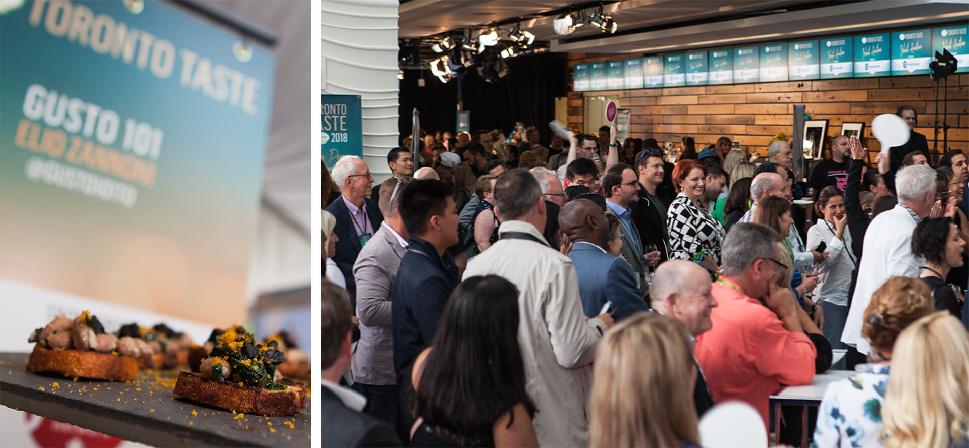 Left: A variety of ingredients on round-shaped toast, with a banner for Toronto Taste Festival in the background.  Right: People at the Toronto Taste festival in 2018 bidding on prizes during an auction.