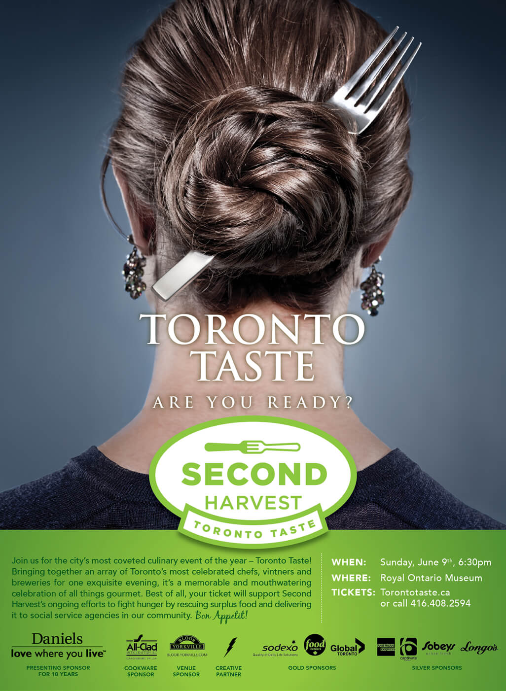 Poster of Second Harvest's Toronto Taste Festival showing a lady with a fork in her hair.