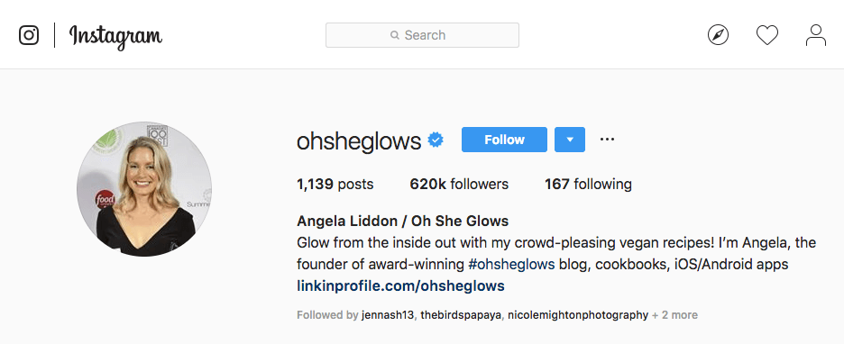 Angela Liddon's Instagram account