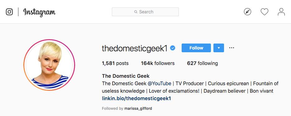 Domestic Geek's Instagram account