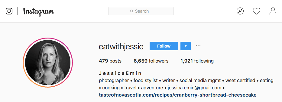 Jessica Emin's Instagram account